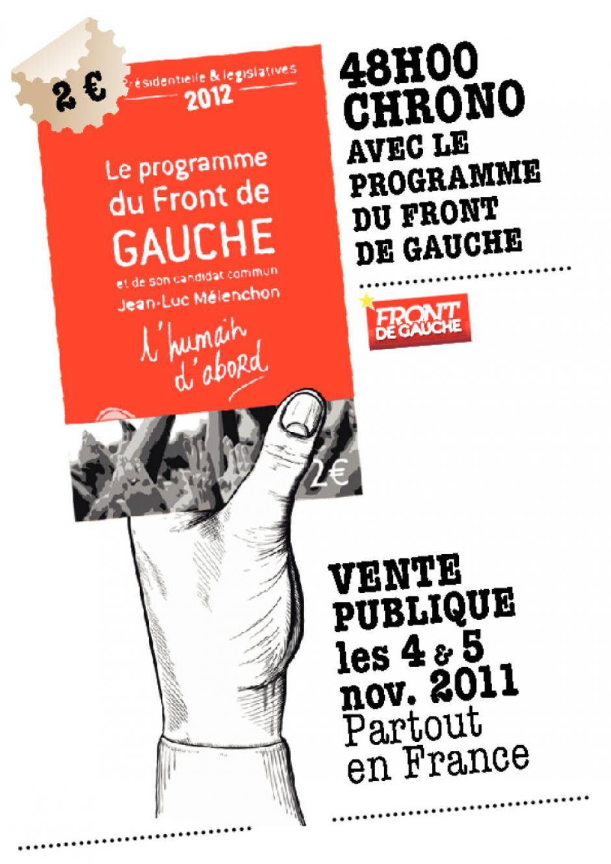 Affichette de vente du programme du Front de gauche
